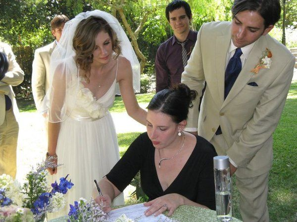LA Wedding Woman, Elysia, signing the marriage license for Gavin and Heather in Pasadena, CA!