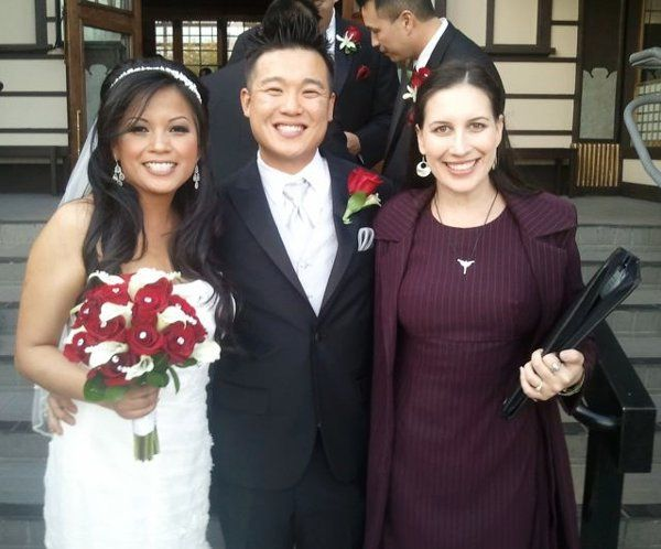 LA Wedding Woman, Elysia with clients Kam and Mike at Hollywood's Yamashiro restaurant.