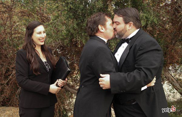 LA Wedding Woman, Elysia, officiating a beautiful same-sex wedding in the Hollywood Hills! We...
