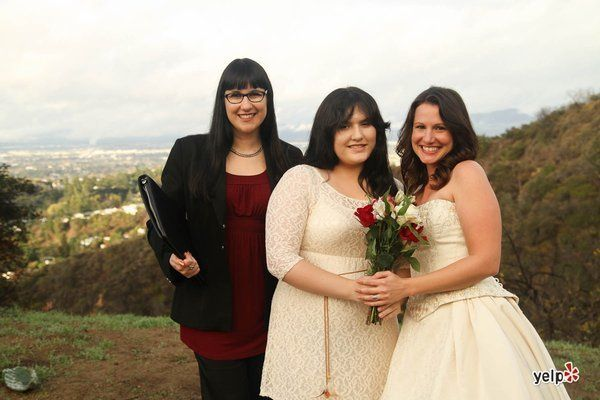 LA Wedding Woman, Arielle, at Franklin Canyon with her beautiful brides! We support marriage...