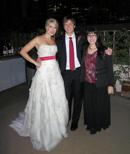 LA Wedding Woman, Arielle, officiating a beautiful evening wedding in Los Angeles!