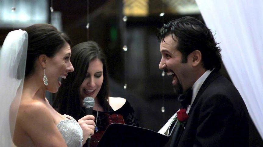 LA Wedding Woman, Elysia,  officiating for her very happy clients in downtown Los Angeles at Cicada!
