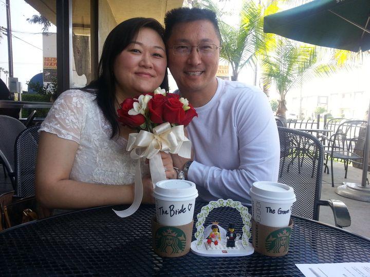 Tmx 1372387949409 Russ Susan Wedding Starbucks 031613 Valley Village, California wedding officiant
