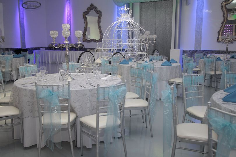 Soft blue and white reception area