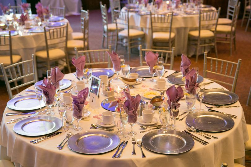 Table setup with silver chargers