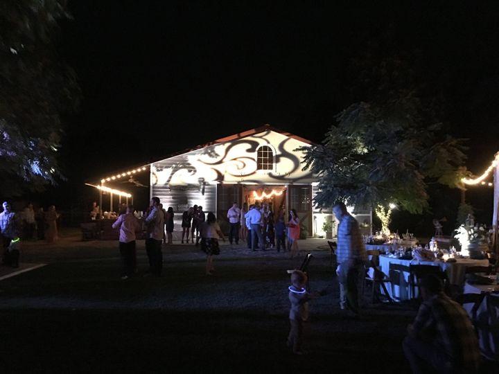 Wedding reception lighted barn