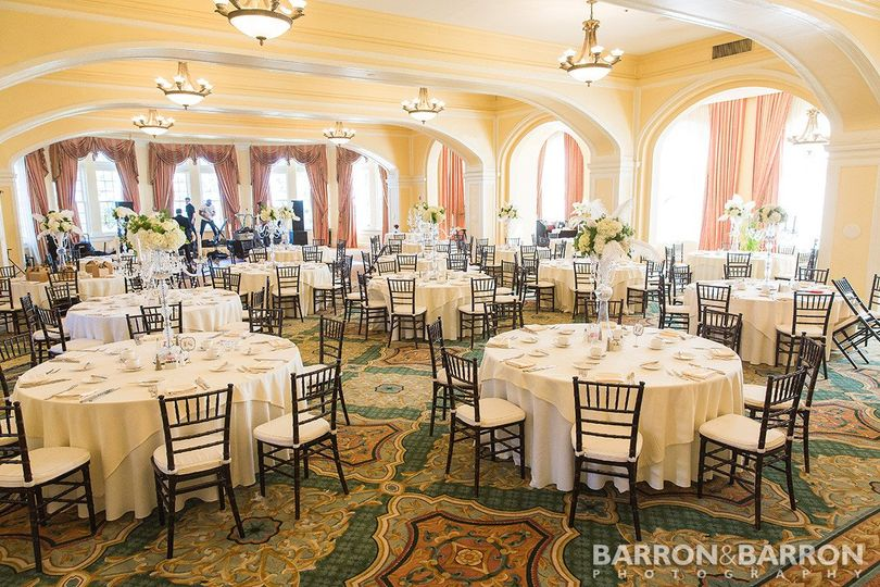 Hotel galvez' music hall set for a large wedding reception. Photo by barron & barron photography.