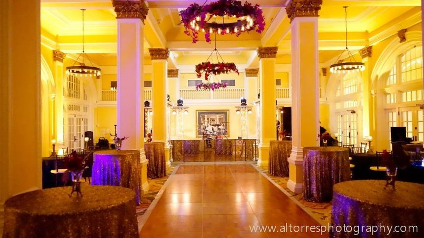 Hotel Galvez' Terrace Ballroom set for a colorful reception. Photo by Al Torres Photography.