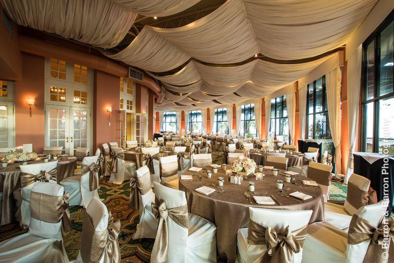 Hotel galvez' veranda set for a reception overlooking the gulf of mexico. Photo by barron & barron...