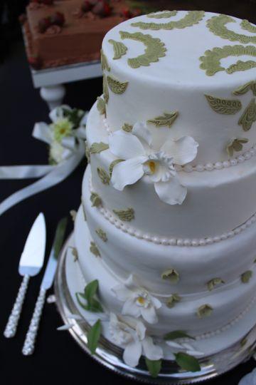 Wedding cake with green detailing