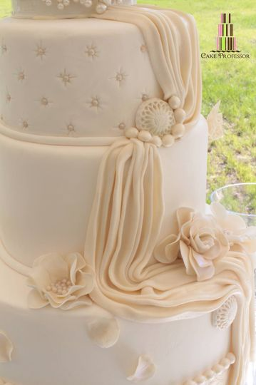 Wedding cake with veil icing
