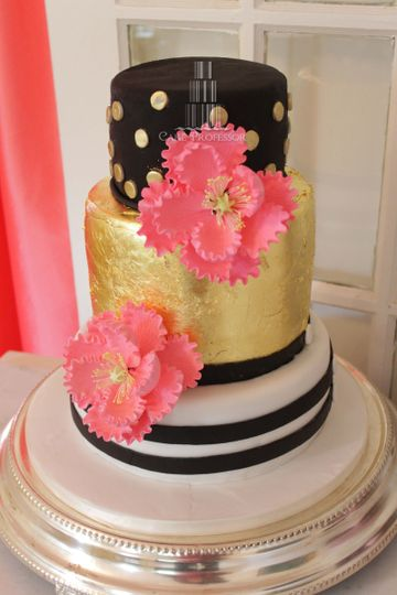 3-tier cake with a gold tier