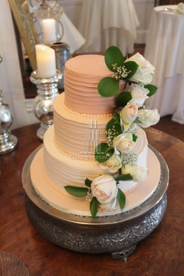 Three colored wedding cake