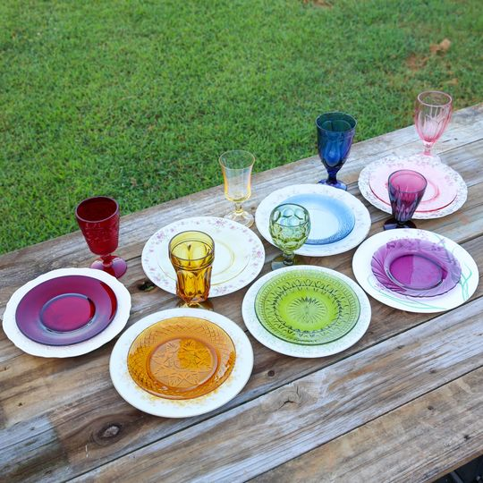 China w/colored glass