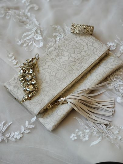 An ivory vegan leather clutch