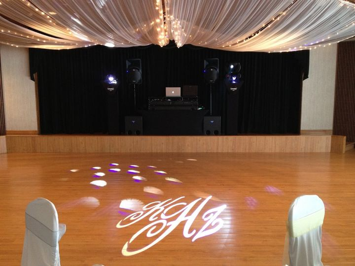 This package included the basic sound and lighting package with a custom monogram.