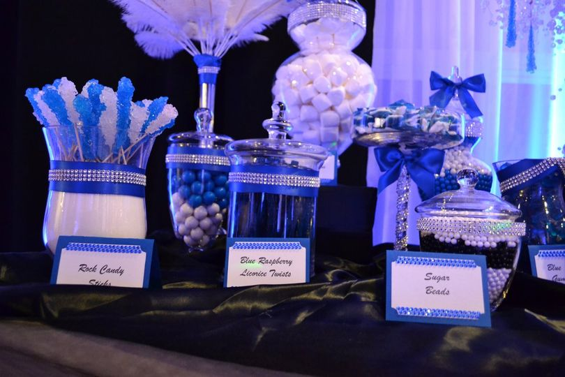 Blue, White & Some Bling for this bride.