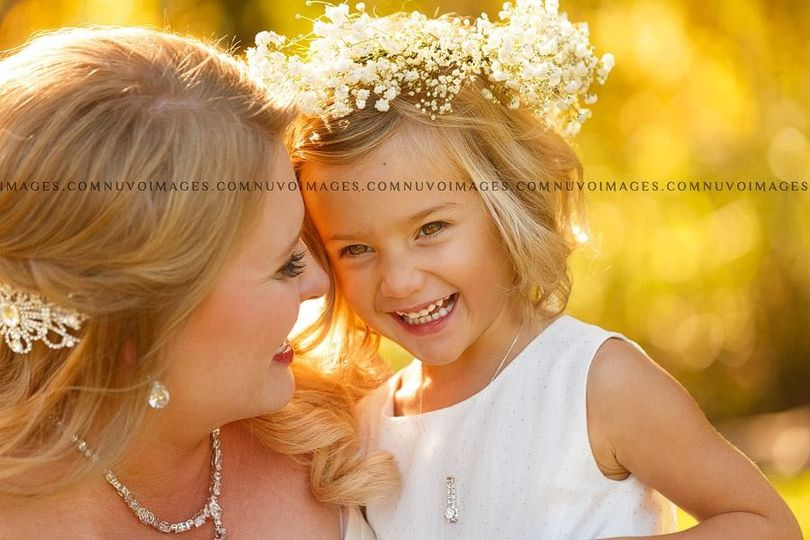 Bride and the flowergirl
