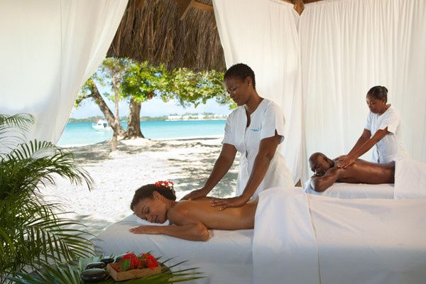 The couple having a relaxing massage