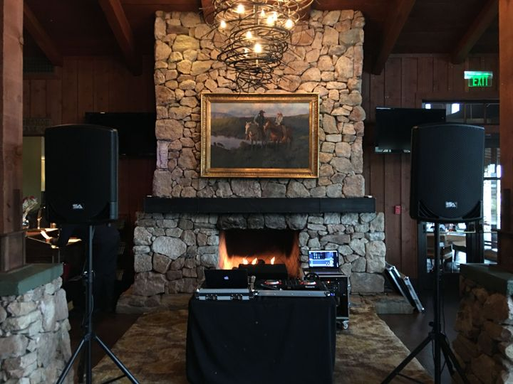 DJ booth by the fireplace