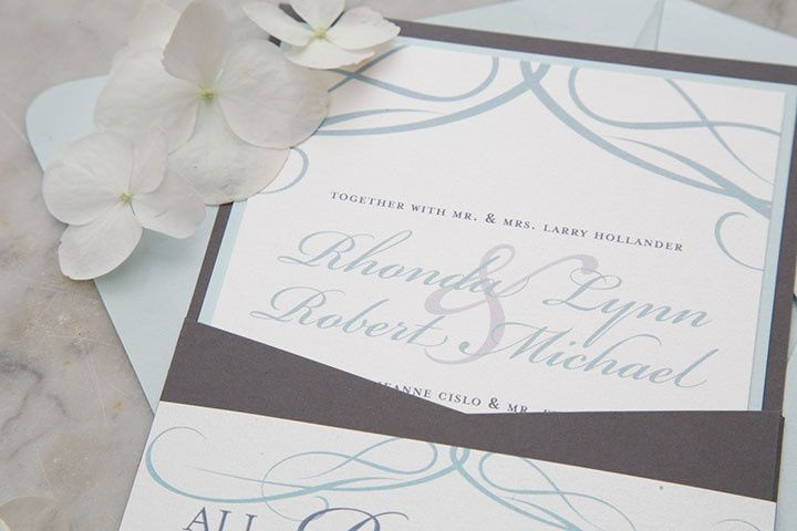 Grey and blue invitations
