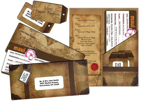 Old World Ticket Airline Set is perfect for the destination wedding. Various themes are available....