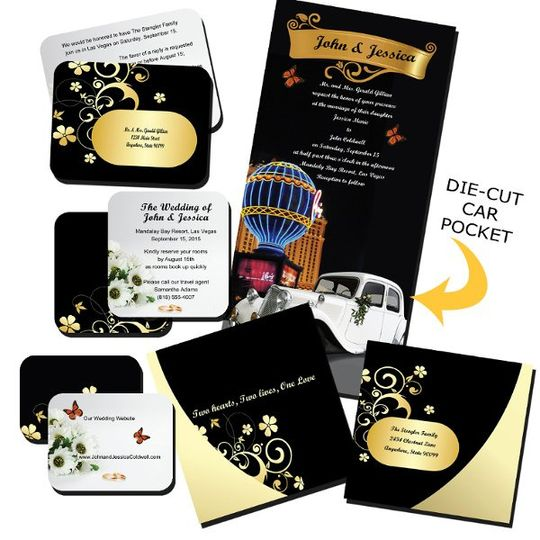 The 4 piece pocket wedding set includes personalization with your picture, your text, and addressed...