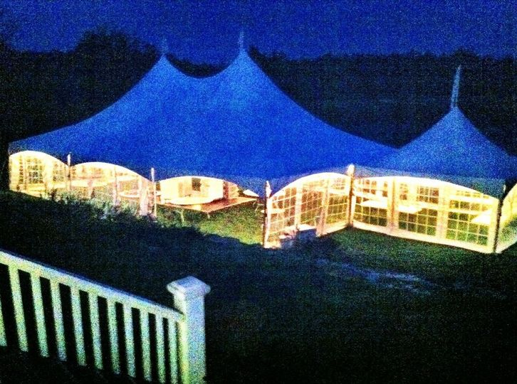 Wedding tent, overlooking the harbor