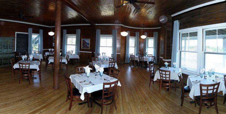 The dining room at Blue Restaurant, Grey Havens Inn