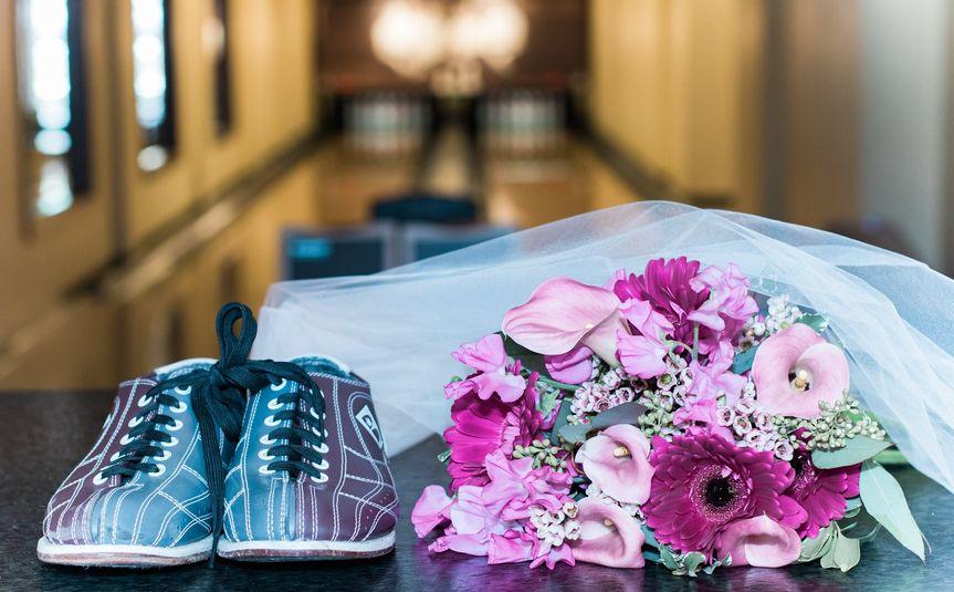 Bouquet & bowling shoes