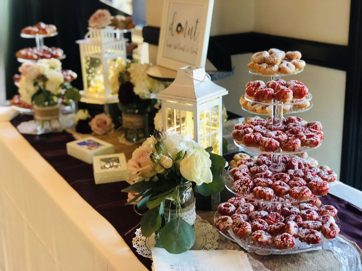 Doughnut display at a wedding