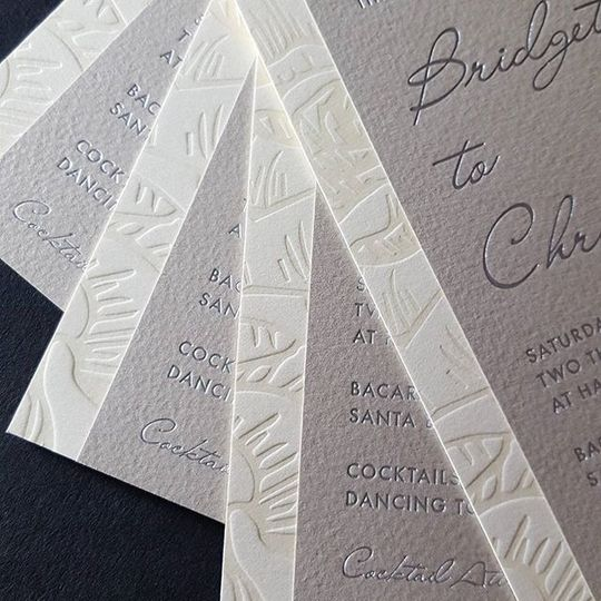 Satin silver foil invitation