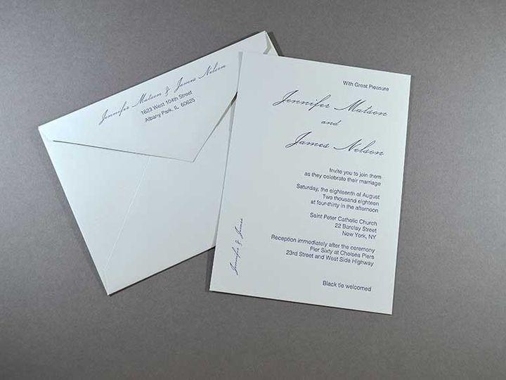 Tmx Grey Fog And Blue Envelope And Invitation Feature 51 1049697 Racine, WI wedding invitation