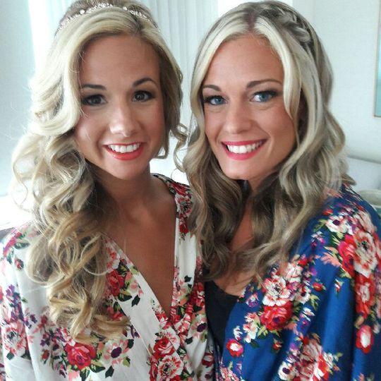 Bride and bridesmaid