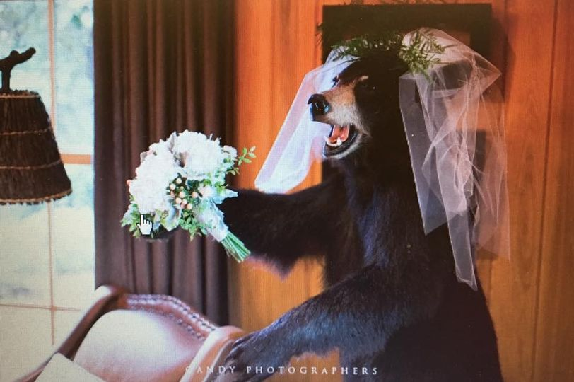 Veil and bouquet on the grizzly