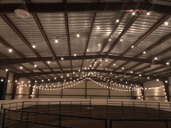 Wedding lighting in a barn