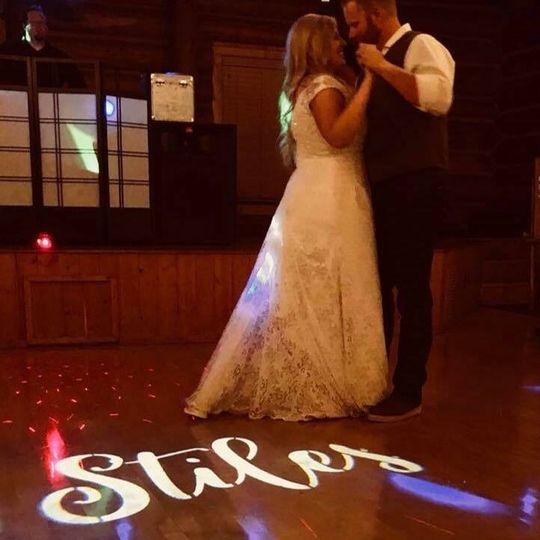 Custom monogram on dance floor