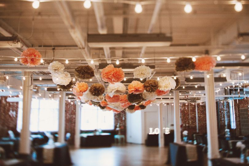 Wedding lights and floral decor