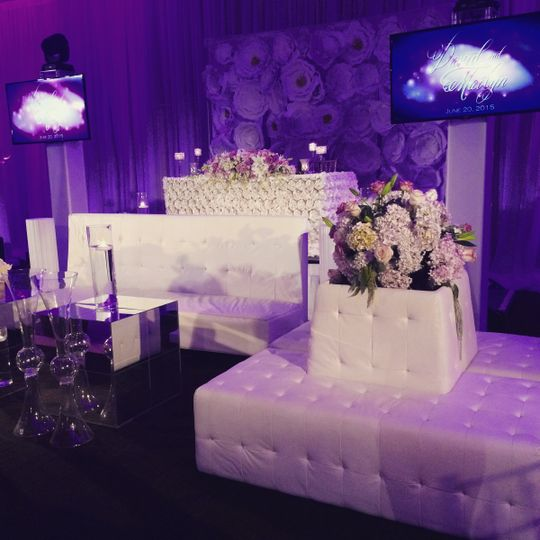 Our bride wanted us to light up the lounge area in front of their sweet heart table.  Custom motion...