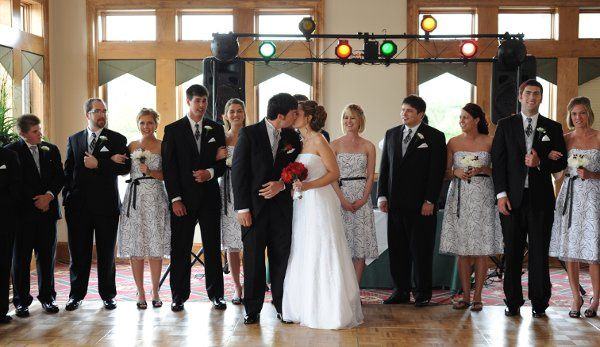 The couple together with their bridesmaids and groomsmen