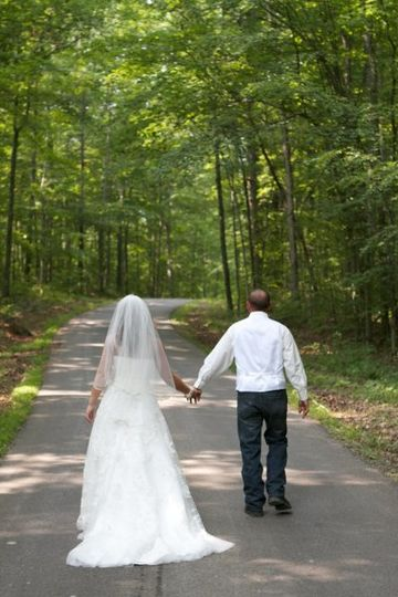Bride & groom, country road