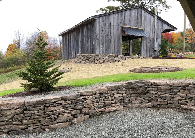Maintained grounds outside the barn