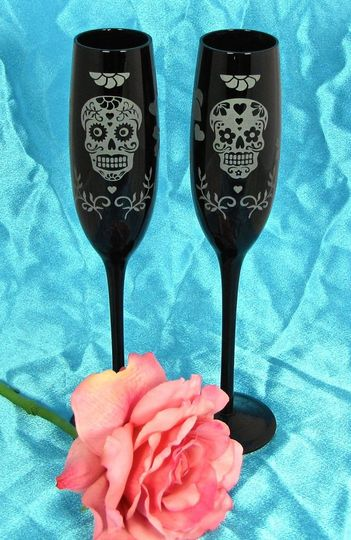 Day of the Dead Wedding Champagne Flutes in Black