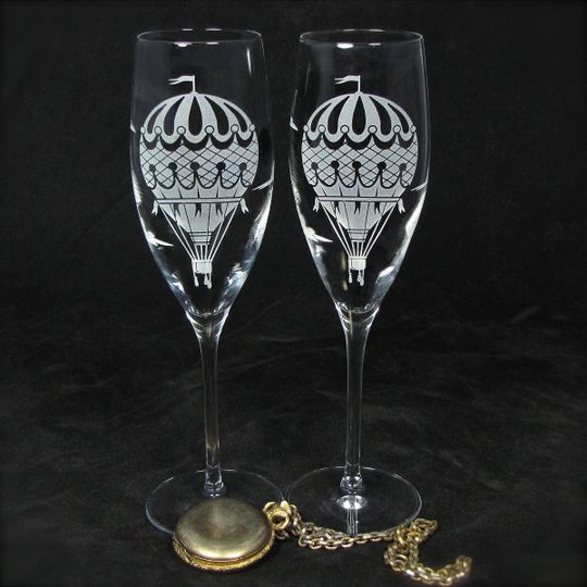 Hot air balloon champagne flutes, personalization available