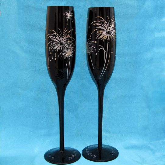 Firework champagne flutes