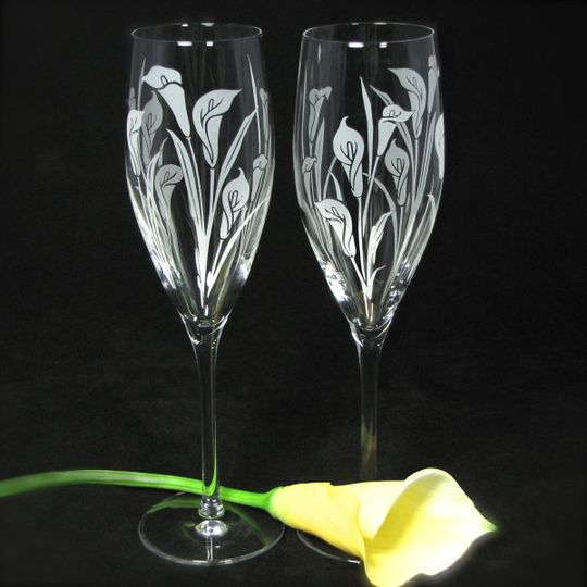 Calla Lily Champagne Flutes, personalization available