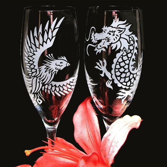 Phoenix and Dragon Wedding Champagne flutes