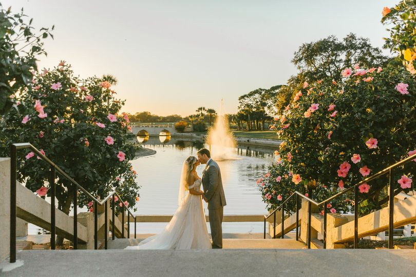 Bride and Groom Sunset Image
