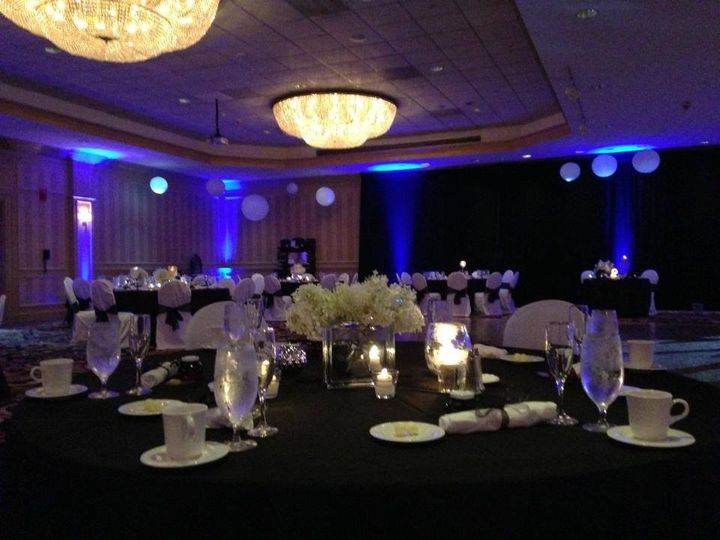 Reception table and centerpiece