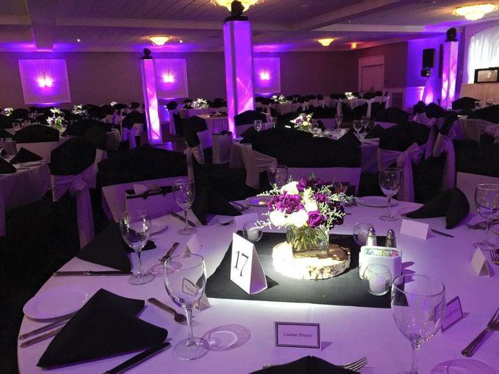 Pink reception hall uplights